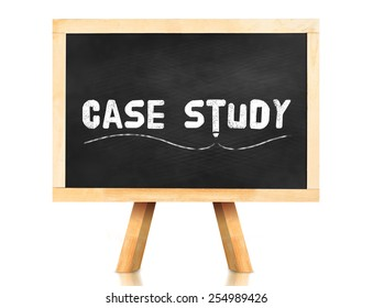 Case study word and pencil icon on blackboard with easel and reflection on white background,Business concept