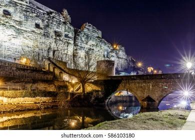 Casemates du Bock and stone bridge in Luxembourg, Europe