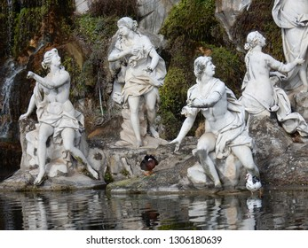 Caserta, Campania, Italy - 3 February 2019: Detail of the sculptural group of Diana in the Park of the Reggia