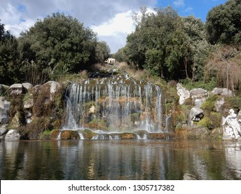 Caserta, Campania, Italy - February 3, 2019: La Grande Cascata that feeds the Fountain of Diana and Atteone, the sixth of the 6 fountains that you meet along the Park from the entrance of the Reggia
