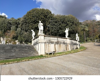 Caserta, Campania, Italy - February 3, 2019: The balustrade with statues that delimit the Fountain of Diana and Actaeon in the Park of the Palace