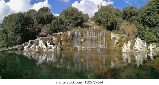 Caserta, Campania, Italy - February 3, 2019: Panoramic picture of the Fountain of Diana and Actaeon, the sixth of the 6 fountains that one encounters crossing the Park from the entrance to the Palace