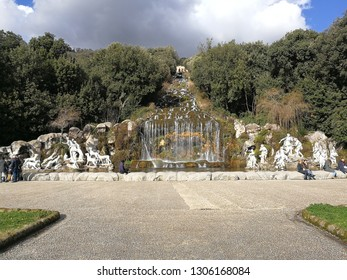 Caserta, Campania, Italy - February 3, 2019: Fountain of Diana and Atteone, the sixth of the 6 fountains that you meet along the Park from the entrance of the Royal Palace