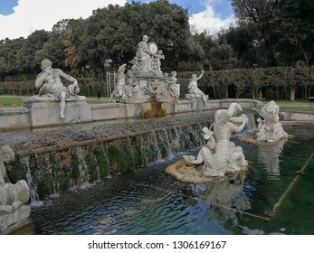 Caserta, Campania, Italy - February 3, 2019: Fontana di Cerere, the fourth of the 6 fountains that one encounters crossing the Park from the entrance to the Reggia