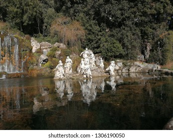 Caserta, Campania, Italy - February 3, 2019: Diana's sculptural group in the Park of the Palace