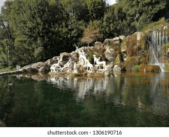 Caserta, Campania, Italy - February 3, 2019: Atteone's sculptural group in the Park of the Reggia