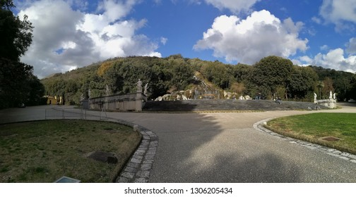 Caserta, Campania, Italy - February 3, 2019: Panoramic picture of the Fountain of Diana and Actaeon