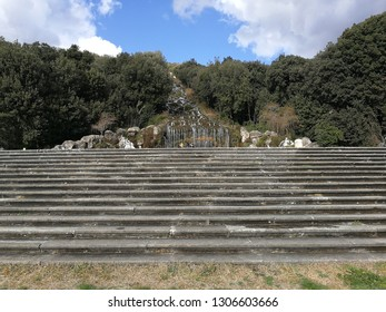 Caserta, Campania, Italy - February 3, 2019: Staircase of the Fountain of Diana and Actaeon