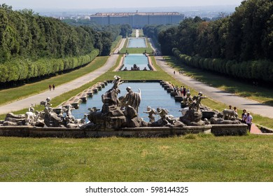 Caserta, Iitaly - Yuly 11, 2016: The Royal Palace of Caserta (italian: Reggia di Caserta) is a former royal residence in Caserta with a very big garden and many fountains, by kings of Naples.