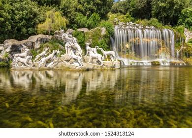 Caserta / Italy - 09-05-2019: Fountain of Diana and Actaeon in Caserta, Italy
