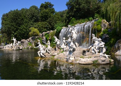 Caserta, Italy - August 1, 2018: The Diana and Actaeon Fountain and Water cascade
