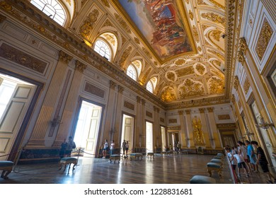 CASERTA, ITALY - AUGUST 2017: Royal Palace interior view. It was the largest palace erected in Europe during the 18th century.