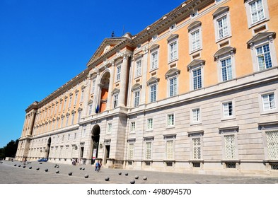 CASERTA, ITALY - AUGUST 26: Entrance to the Palace of Caserta the largest palace built in Europe during the 18th century August 26 2016 in Caserta Italy