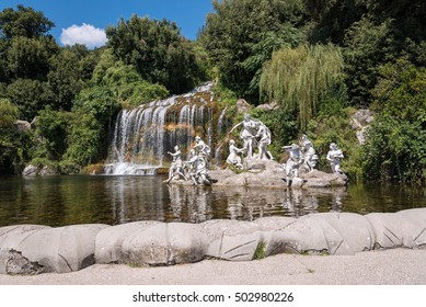 Caserta, Italy - August 29, 2016: The Diana and Actaeon Fountain at the feet of the Grand Cascade in the garden of Royal Palace of Caserta