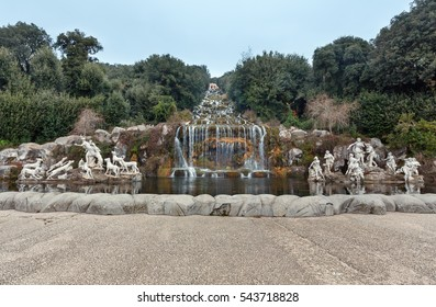 Caserta, Italy - January 10, 2015 :  Fountain of Diana and Actaeon and Big Waterfal. Mythological statues of nymphs in the garden Royal Palace in Caserta.