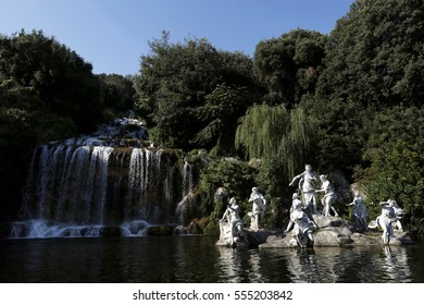 Caserta, Italy - July 29th, 2016 : Fountain of Diana and Actaeon and big waterfall in the garden of the Royal Palace in Caserta.