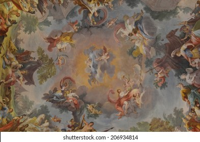 CASERTA, ITALY, JUNE 1, 2014: Detail of ceiling in palazzo reale in caserta.