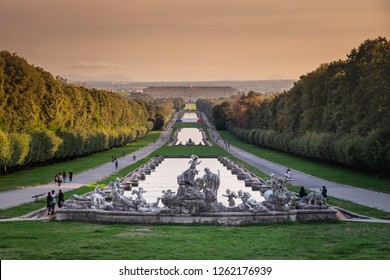 CASERTA, ITALY - SEPTEMBER 24, 2017: View of the grand Cascade of Royal Palace of Caserta. Built by the architect Vanvitelli, the historic owners were the Bourbon of Naples.