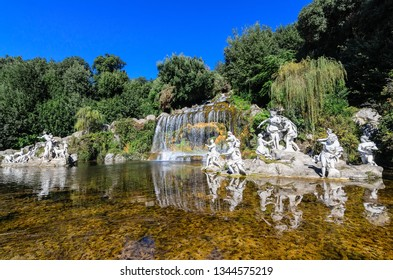 """Caserta/Italy/10.12.2016. .Fountain """"Actaeon"""" sculpture group in the cascade at Caserta, symbolizing the famous ancient legend. Caserta, Italy."""