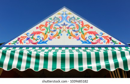 """A """"caseta"""" stand at the Feria de Abril, a place where friends and family celebrate the feast of Seville Fair, Andalusia, Spain"""