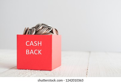 Cash back. Red gift box with coins