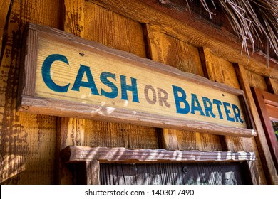 Cash or barter store front.