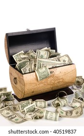 A cash box full of spilling money is good for economic, savings, financial and savings inferences.