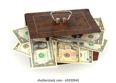 Cash box with US-Dollar in front of a white background
