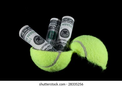 Cash coming out of a tennis ball.