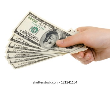 cash  currency note dollar in hand, on white background, isolated