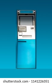 cash dispenser or ATM  on blue background.