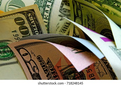 Cash dollars in various denominations.
