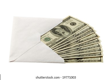 Cash in the envelope isolated over white
