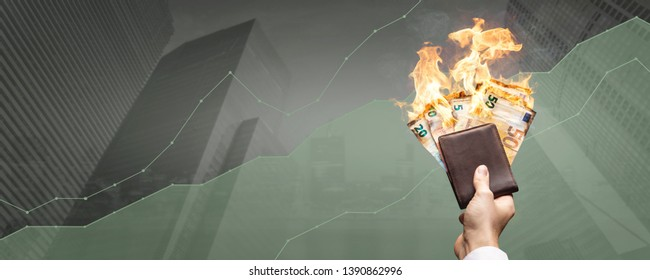 Cash flow is on fire - high financial gains concept with burning banknotes and a rising graph