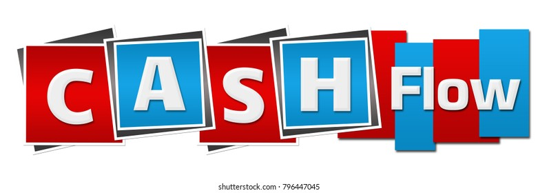 Cash flow text written over red blue background.