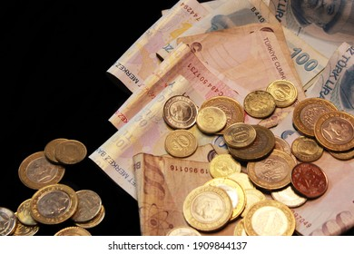 Cash of hundred dollar bills, dollar background. turkish liras. turkish money. para. bozuk , madeni para, kağıt para. lira. türk lirası. coin. cent. kuruş. 10 kuruş. 5 kuruş.25 kuruş. 1 lira. Atatürk
