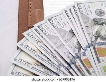 cash of hundred dollar bills , dollar background with high resolution