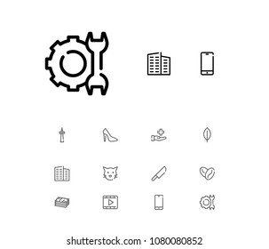 Cash icon with video, cat and television symbols. Set of pussy, film, leaves icons and arabica bean concept. Editable  elements for logo app UI design.