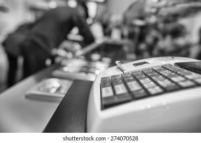 Cash Machine on a food shop.