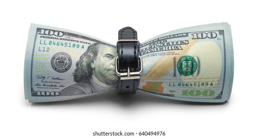 Cash Money being Tightened with Belt Isolated on White Background.