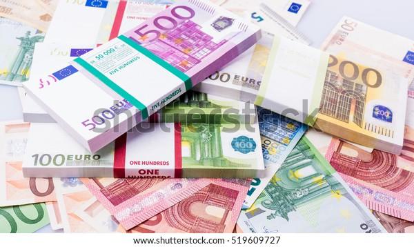 cash money. euro bills. Euro currency money
