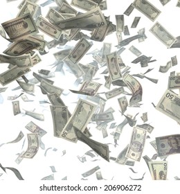Cash, paper dollars, falling with the heaven. Finance illustration