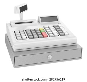 cash register with blank keys. Isolated on white