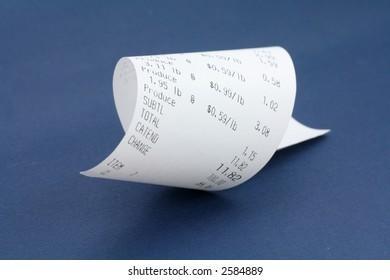 cash register receipt close up shot