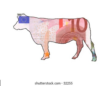 A cashcow. This cow is filled with a euronote as background
