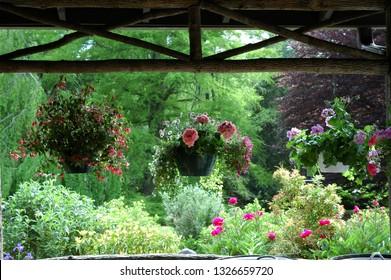Casheirs, USA, North Carolina, High Hampton Inn and Country Club, flowering plants hang along the verandah, The Main Lodge, May 30, 2006