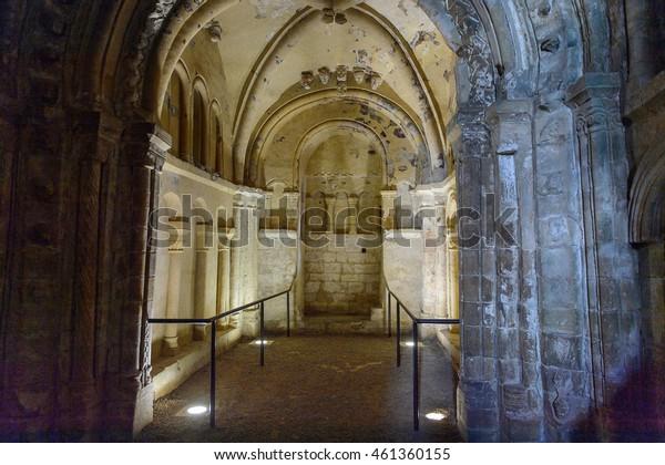 CASHEL, IRELAND - JULY 12, 2016: Interior of Chapel of King Cormac Mac Carthaigh on the Rock of Cashel (Carraig Phadraig), Cashel of the Kings and St. Patrick's Rock