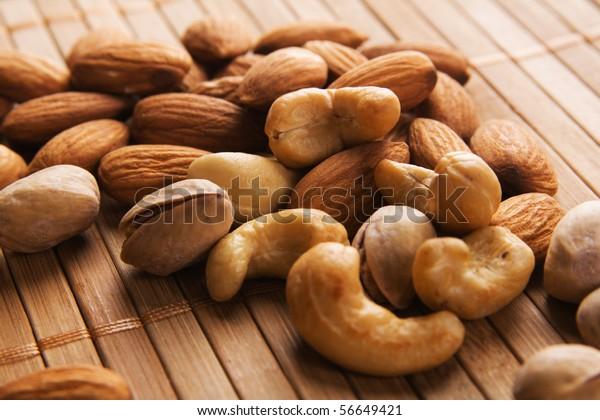 Cashew, almond and pistachios macro photo