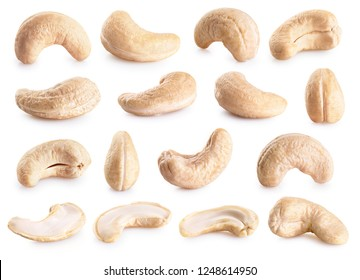 Cashew nuts isolated on white background. Collection with clipping path.