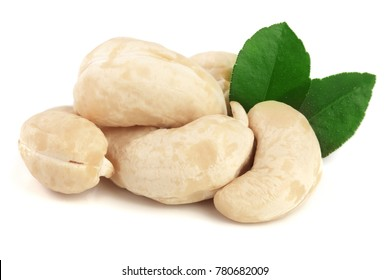 cashew nuts with leaf isolated on white background. macro